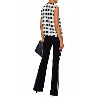 Giorgio Armani Pleated gingham silk-chiffon blouse
