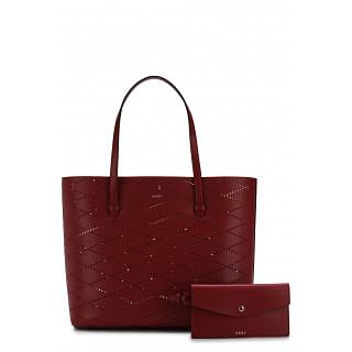 DKNY Red Marley Diamond-Perforated Large Tote