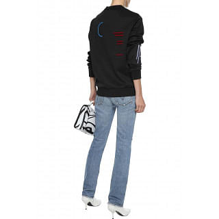Versace Appliquéd embossed stretch-jersey sweatshirt
