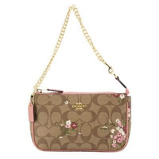 Coach F30025 Khaki Multi Coated Canvas Wristlet