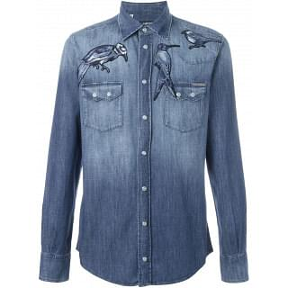 Dolce & Gabbana Men's Gray Bird Embroidered Denim Shirt