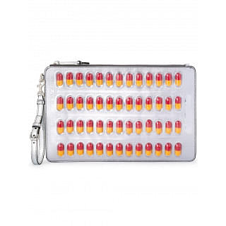 Moschino Silver-tone Pill Blister Pack Clutch