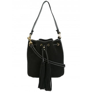 Moschino Black Leather Stitched Bucket Tote