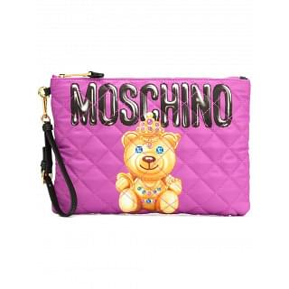 Moschino Pink Crowned Bear Clutch