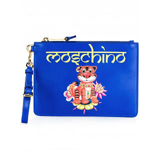 Moschino Blue Leather Jewelled Tiger Clutch
