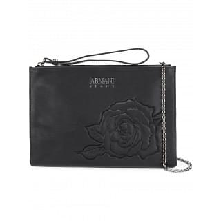 Armani Jeans Black Rose Embossed Clutch