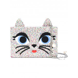 Karl Lagerfeld Silver Toned Cat Crossbody Bag