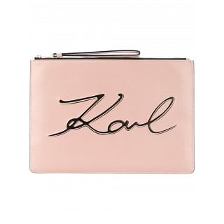 Karl Lagerfeld Pink Leather Logo Clutch