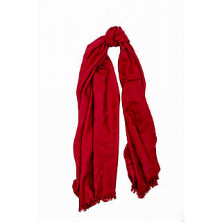 Coach Red Signature Wool Silk Scarf/Wrap