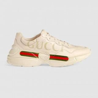 Gucci Mens Rhyton Gucci logo Leather Sneaker