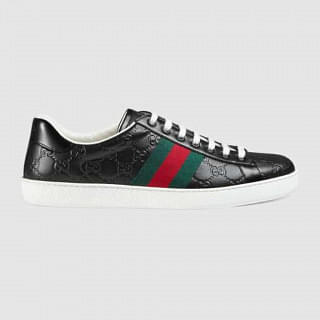 Gucci Mens Ace Black Gucci Signature sneaker