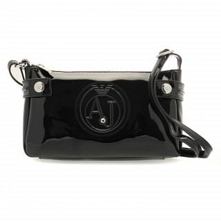 Armani Jeans Black Patent Faux Leather Crossbody
