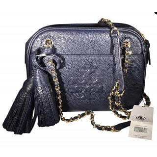 Tory Burch Thea Blue Leather Crossbody Bag with Tassels