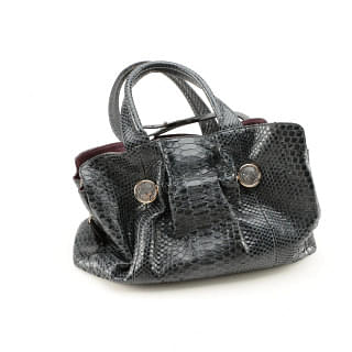 Bvlgari Snake Skin Leather Handbag