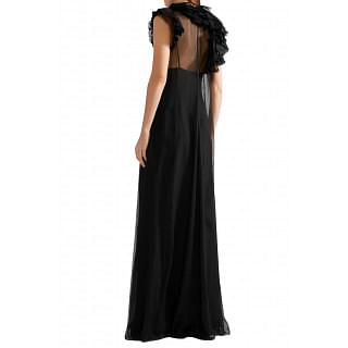 Lanvin Lace-trimmed ruffled silk-chiffon gown