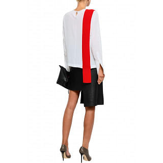 Stella McCartney Two-tone draped silk crepe de chine top