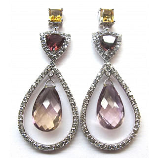 Amethyst, Tourmaline and Diamond Studded Earrings