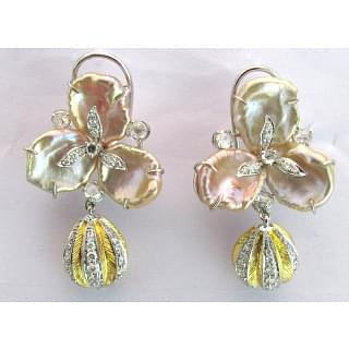 Baroque Pearl Earrings With Gold Drops