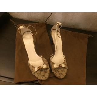 Gucci Signature Canvas Ankle Strap Heels