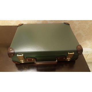 Globe-Trotter Centenary 18 Slim Attache - Green & Tan