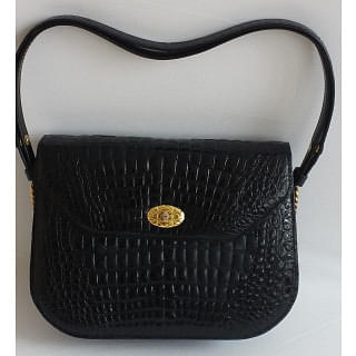 Black Crocodile skin Medium Size Bag