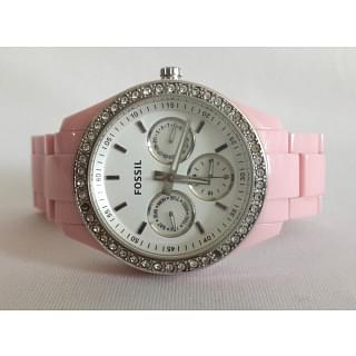 Fossil Crystal Accent Pink Resin Watch