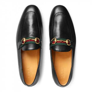 Gucci Mens Web Leather Horsebit Loafer