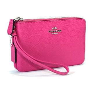 Coach Leather Corner Double Zip Pink wristlet