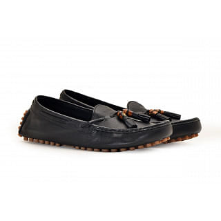 Gucci Black Hebron Leather Loafers
