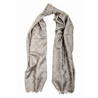 Coach Light Grey Signature Wool Silk Scarf/Wrap