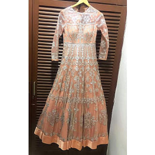 Seema Gujral Orange & Silver Work Gown