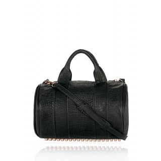 Alexander Wang Rocco In Black Pebble Lamb With Rose Gold