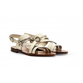 Gucci Juliette Off White Leather Flat Bit Sandal