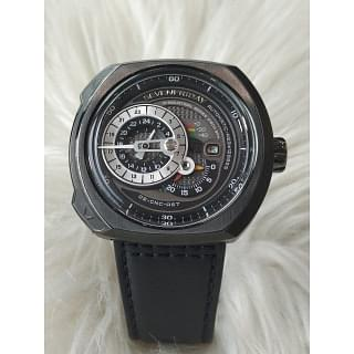 Seven Friday Q-Series Black Leather Automatic Mens Watch