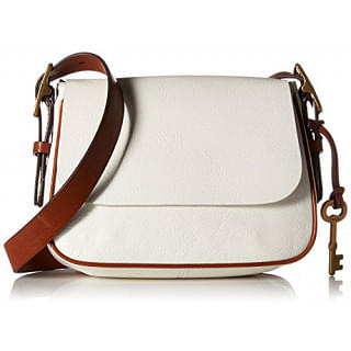 Fossil White Leather Harper Saddle Crossbody