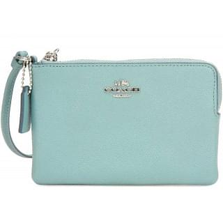 Coach Embossed Small L- Zip Leather Wristlet