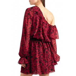 Saint Laurent One-shoulder ruffled floral-print silk-chiffon mini dress