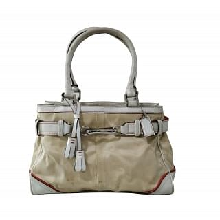 Coach Hampton F10710 Satin and Leather Belted Handbag
