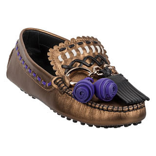 Tods Womens Gommino Driving Shoes in Golden Bronze/Black
