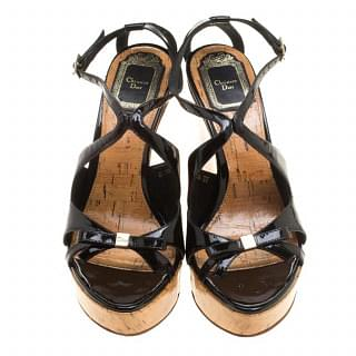 Dior Black Starlet Bow Patent Leather & Cork Wedge