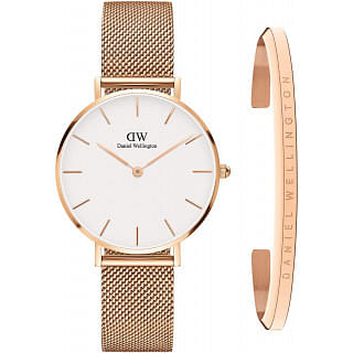 Daniel Wellington Petite Melrose & Classic Bracelet Watch Golden Gift Set