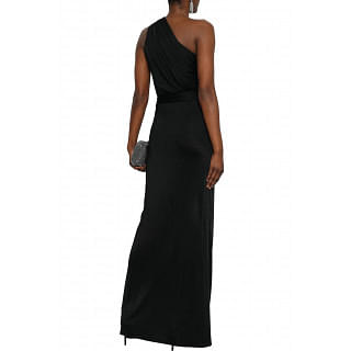 Lanvin One-shoulder ruched jersey gown