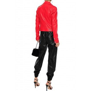 Versus Versace Laser-cut leather biker jacket