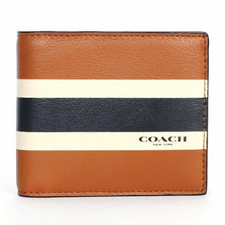 Coach Men's Compact ID Calf Leather Wallet Saddle