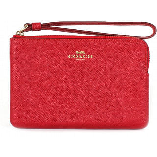 Coach Leather Corner Zip Red wristlet