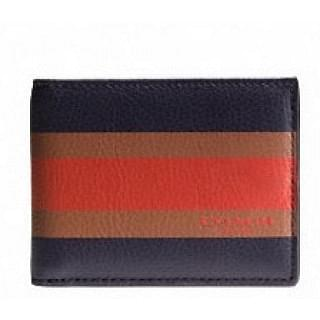 Coach Men's Compact ID Calf Leather Wallet Navy and Orange