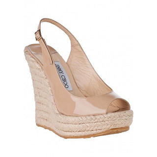 Jimmy Choo Polar Nude Patent Espadrille Wedge