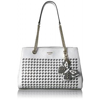 Guess Satchel Bag for Women - Leather, White - WM668608