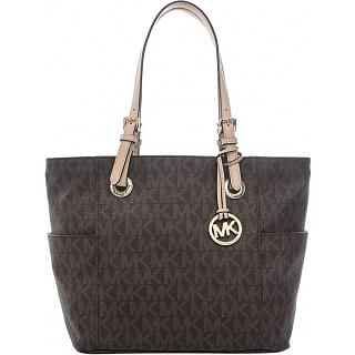 Michael Kors Brown Signature Canvas Side Pocket Tote