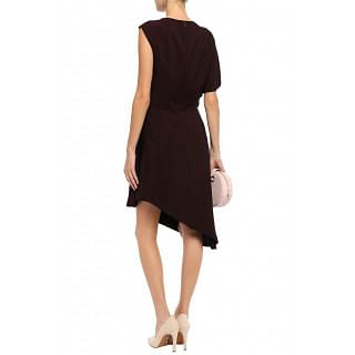 Lanvin Asymmetric grosgrain-trimmed crepe dress
